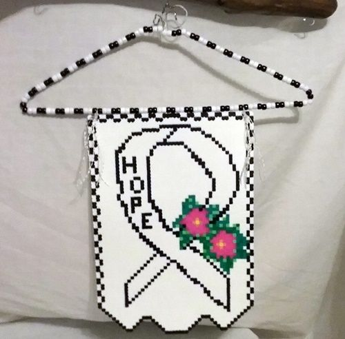 Black & White Hope Ribbon Banner made with perler beads on a wire hanger shabby sheik scroll top