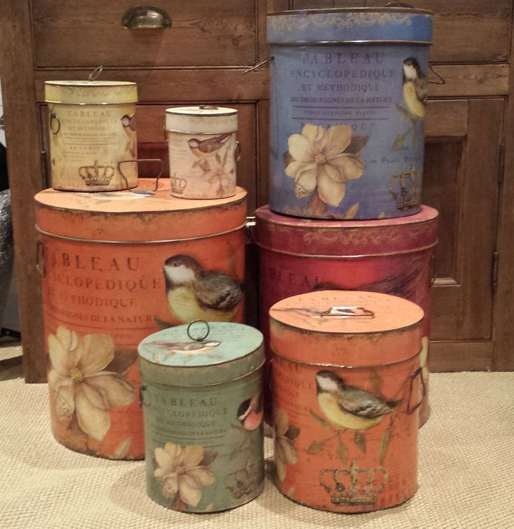 Vintage Chic Bird Metal Storage Container Lid Handles Shabby French Country £15 Green colour