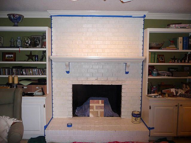 brick fireplace painted