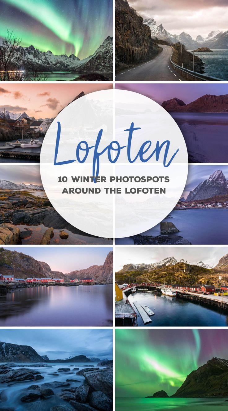 10 Fotospots auf den Lofoten für den Winter. Nordlichter, Fjorde, rote Fischerhäuser, steile Klippen und einsame Straßen werden euch im Norden Norwegens verzaubern!