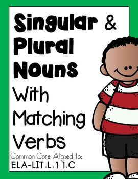 An INTERACTIVE, SINGULAR and PLURAL NOUNS with MATCHING VERBS mini-lesson.*Differentiated Levels, grades 1-3. ANSWER KEYS included.Common Core aligned to :CCSS.ELA-LITERACY.L.1.1.C, Use singular and plural nouns with