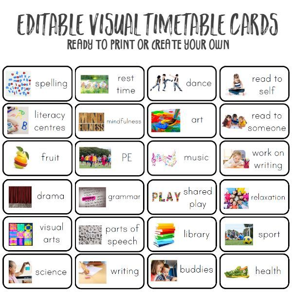 Create your own visual timetable using these pre made cards or make your own from the same template | you clever monkey