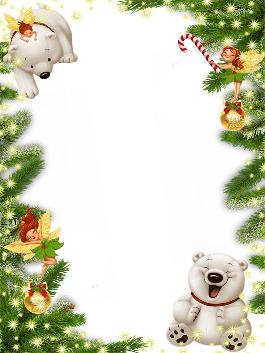 Cute Transparent Christmas Photo Frame with White Bear
