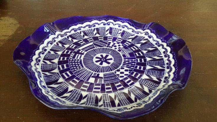 Beautiful wonki blue and white straffigo plate