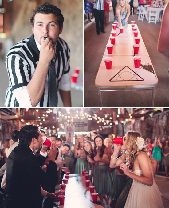 I'm not a big wedding pinner, but I'm for sure doing this at my wedding! Bridesmaids vs. groomsmen flip cup tournament
