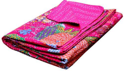 Handmade Kantha fruit print Bed Cover Vintage Kantha Cotton Bedspread Throw  USA #Unbranded #ArtDecoStyle