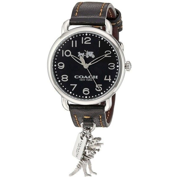 COACH Delancey - 14502742 (Dark Brown/Black) Watches ($221) ❤ liked on Polyvore featuring jewelry, watches, charm watches, stainless steel watches, round watches, coach wrist watch and leather strap watches