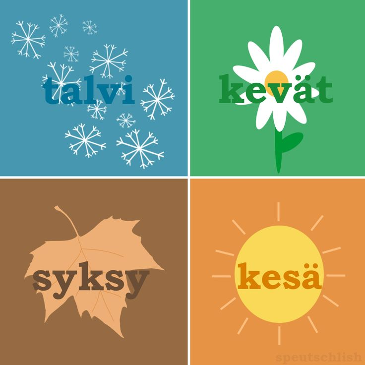 Seasons in Finnish! Request and translations by sinkadelic See more here  http://speutschlish.tumblr.com/post/77011415132/seasons-in-finnish-request-and-translations-by