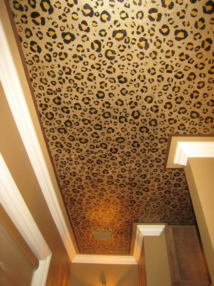 Metallic leopard wallpaper on the ceiling!! I am totally doing this!!