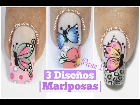 3 Diseños de uñas de mariposas Parte 1 - 3 Easy butterfly nail art tutorial - YouTube