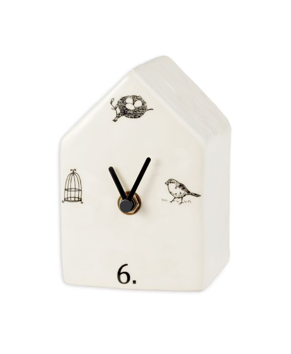 Birdhouse Clock Magenta Wholesale Home Decor Ceramics