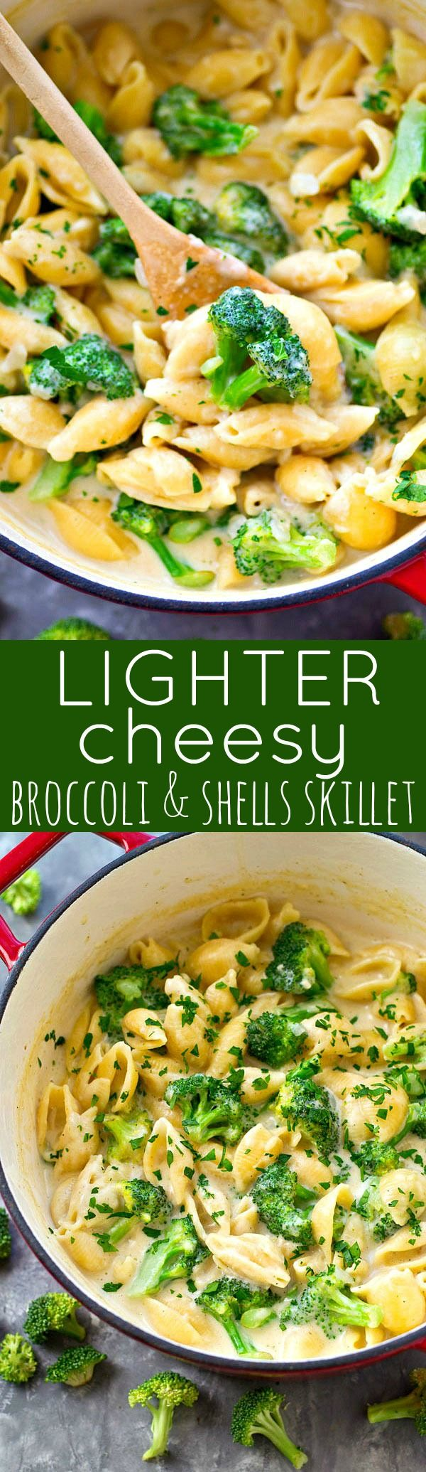 This lightened-up cheesy broccoli and shells skillet cooks up in one pot in less than 30 minutes and is only 350 calories per serving! The ultimately easy weeknight comfort food.