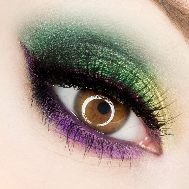 colorful eye makeup for honey eyes, green and purple details for the sexy gorgeous eyes