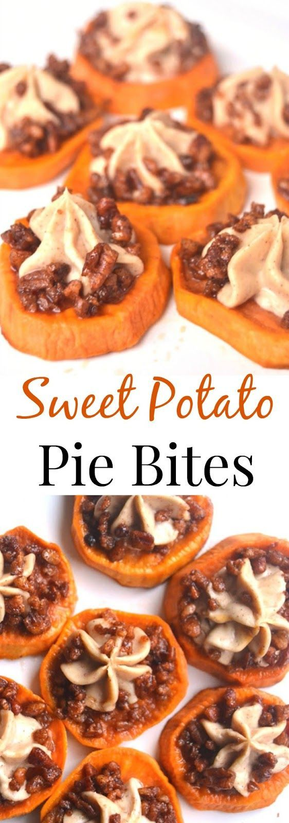 These Sweet Potato Pie Bites are perfect for dessert or part of a holiday meal. Roasted maple sweet potatoes with cinnamon cream cheese and maple pecans make this dish mouth-watering! www.nutritionistreviews.com