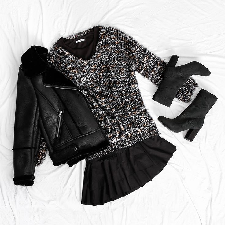 Spice up your black dress with a sweater and your new ankle boots ✔ #Celestino #ootd #fashion #style #dress #sweater #boots #jacket #bikerjacket #stylish #styleinspiration #fashionphotography
