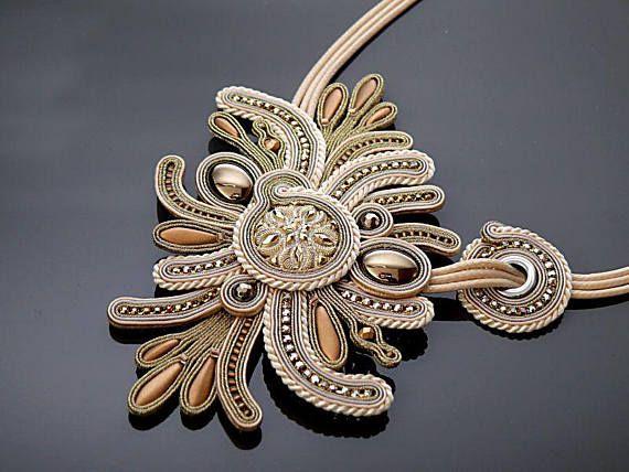 Gold ecru necklace Soutache with Hematite.