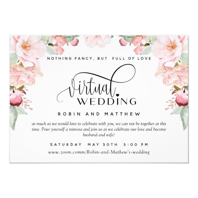Blush Pink Floral Online Virtual Wedding Invitation Zazzle Com In 2020 Watercolor Floral Wedding Invitations Digital Invitations Wedding Wedding Invitations