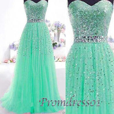 Sparkly prom dresses, green tulle princess ball gown for teens, sweetheart…