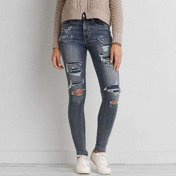 AEO Denim X Café Hi-Rise Jegging (Jeans) ($60) ❤ liked on Polyvore featuring jeans, doppio destroy, distressed denim jeans, destroyed jeggings, american eagle outfitters, destroyed jeans and ripped denim jeans