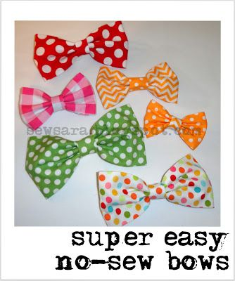Going to try to make my dogters some bows ;) SewSara: Super Easy No-Sew Bows!