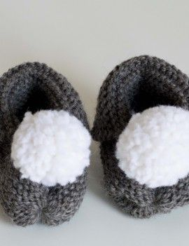 Knitted grey booties . Recycled pompon
