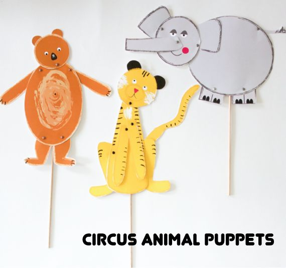 Hinged Circus Animal Puppets | Do you love doing a puppet show? Make your children love this craft! It's so easy!