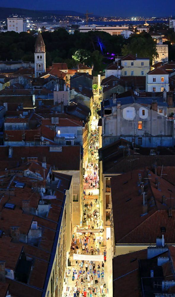 Overlooking the busy main street of Zadar in the evening mood, Dalmatia, Croatia | by mane06