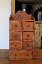 ANTIQUE PRIMITIVE APOTHECARY WOOD SPICE CABINET CUPBOARD OLD WOOD SEVEN DRAWERS