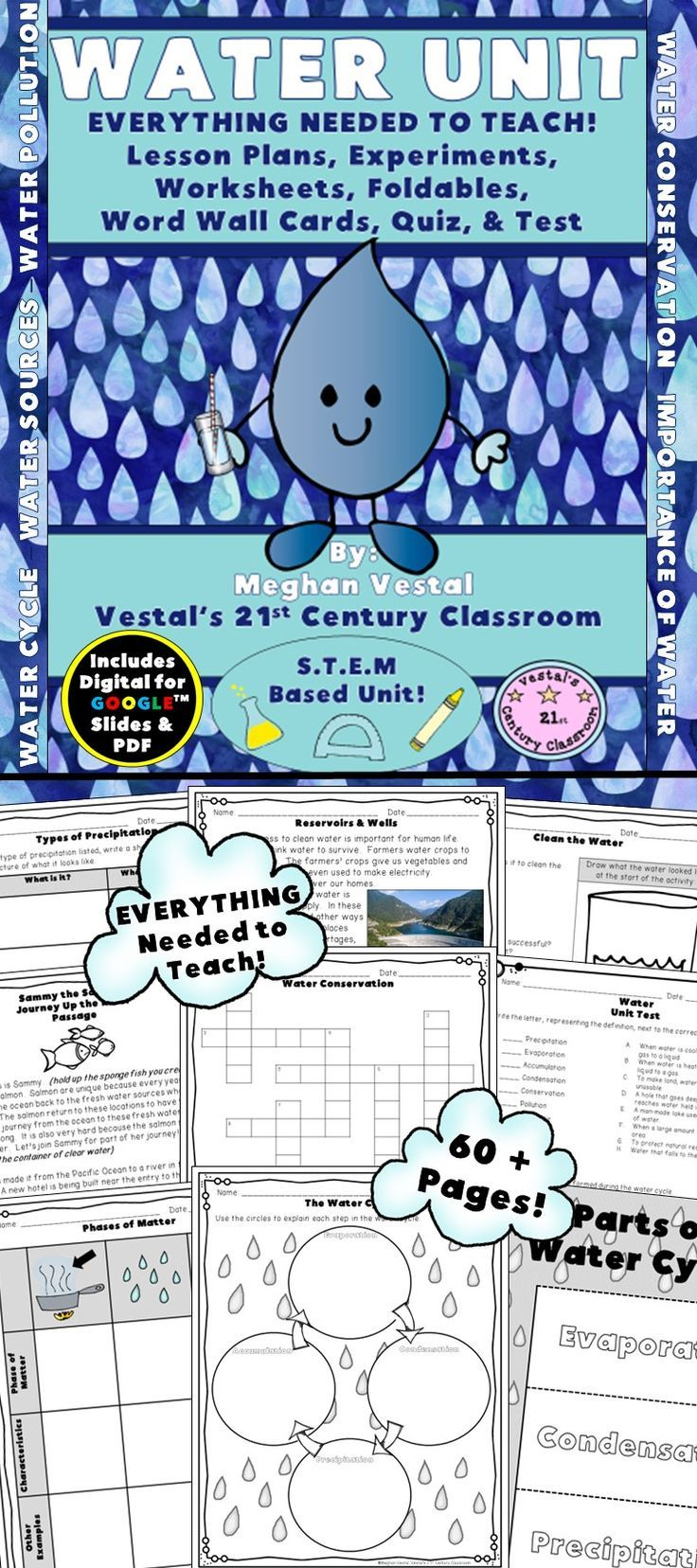 Water is an essential part of life and this unit will provide you with lots of fun activities to teach students about water! EVERYTHING you need to teach a science unit about water can be found in this 2-week unit!