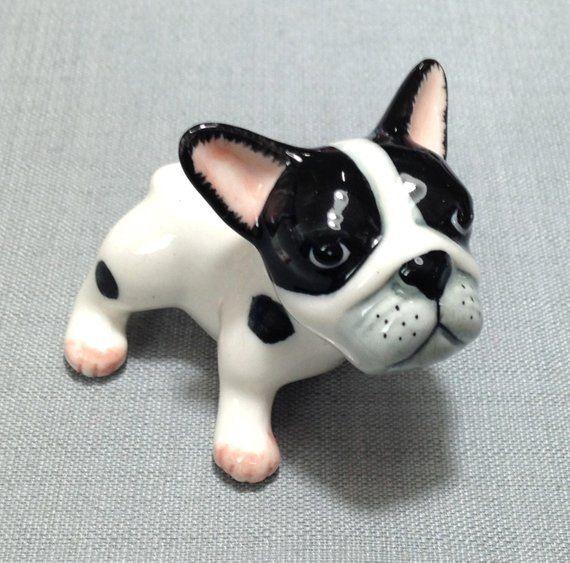 Miniature Ceramic Dog French Bulldog Puppy Pet Animal Cute Little Small Black White Statue Decoratio French Bulldog French Bulldog Puppy Baby French Bulldog