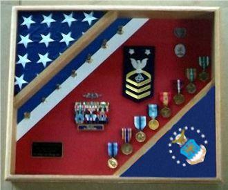 US Air Force Shadow Box, USAF flag display case, Flag and medal display case, Air Force flag and medals display