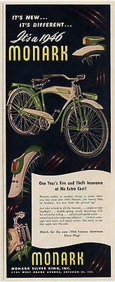 "paperink id: ads9500 1946 Bicycle Bike AD Monark Boys Modern Design Magazine Advertisement. ORIGINAL PERIOD Magazine Advertisement. AD measuring approximately 5"" x 12.5""AD is in Good to Very Good Cond"