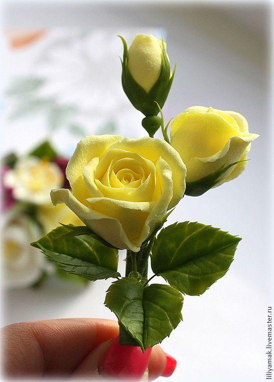 Купить Нежно-лимонные бутоны роз (зажим для волос) - лимонный, сердечко, сваровски бусины