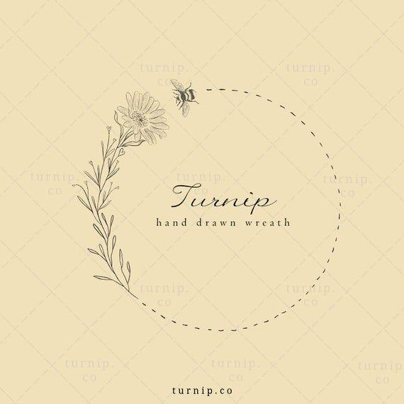 Sunflower Wreath Clipart Bee Wreath Clipart Png Farmhouse Etsy In 2021 Organic Logo Design Organic Logo Clip Art