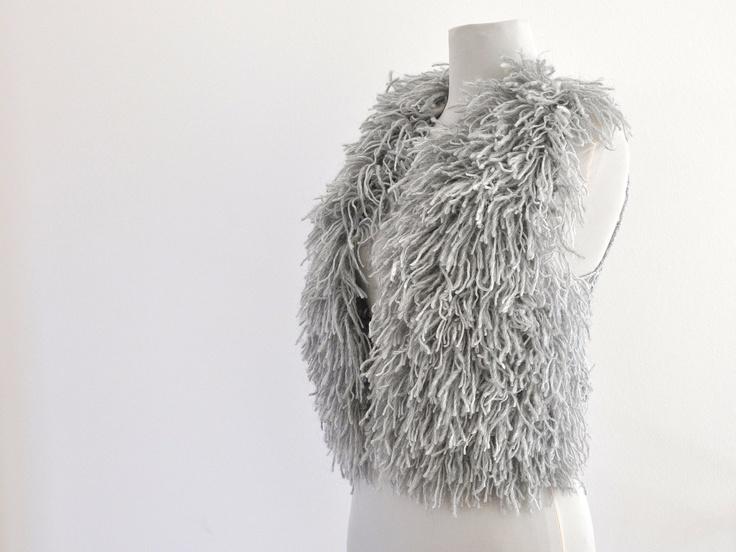 Sweater Cardigan Vest Chunky Fringed Sweater Gray Grey Platin Fashionable Unique Winter Fashion. $95.00, via Etsy.