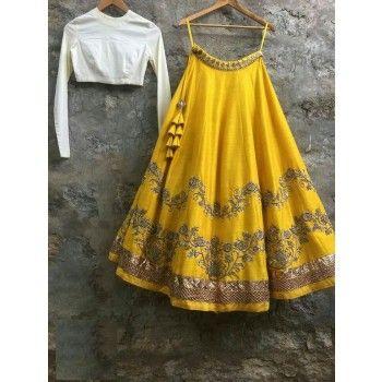 Poly Silk Zari Work Yellow Semi Stitched Lehenga - Jk17