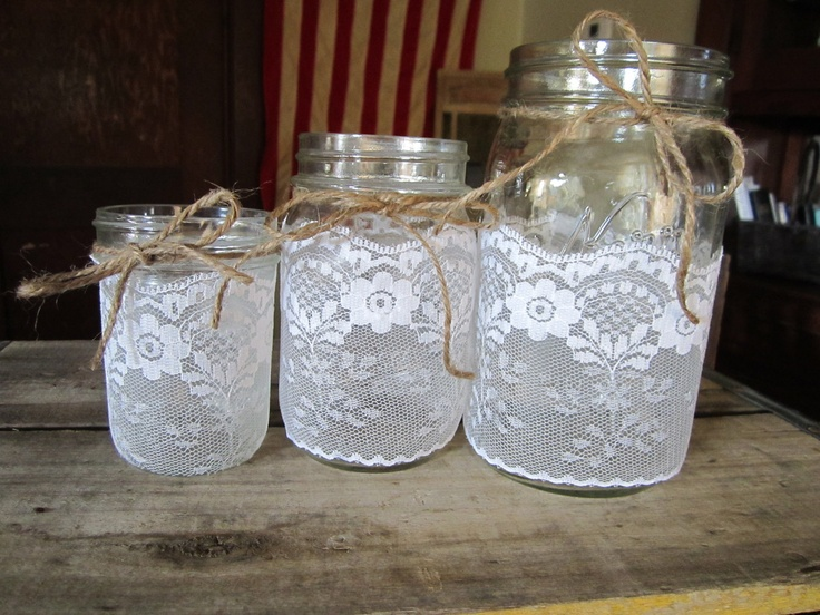 Burlap and Lace Mason Jars - Candle holder - Vase - Wedding centerpiece - Shower (Set of 5) - mix and match. $32.00, via Etsy.