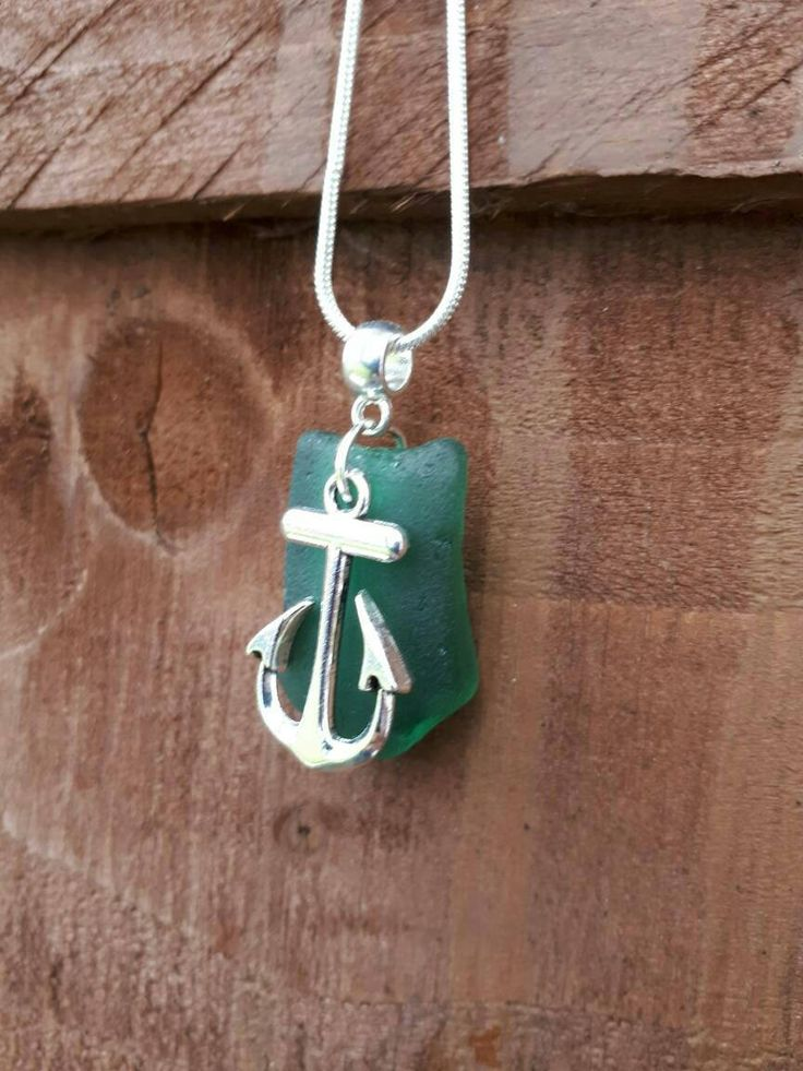 Teal green seaglass pendant necklace with silver anchor - Ireland gift from the sea - Irish sea glass - Nautical gift - Birthday gift by MelcooDesigns on Etsy