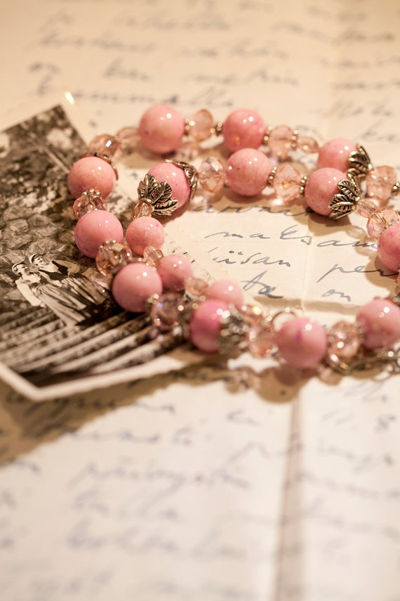 Pink marble bead necklace