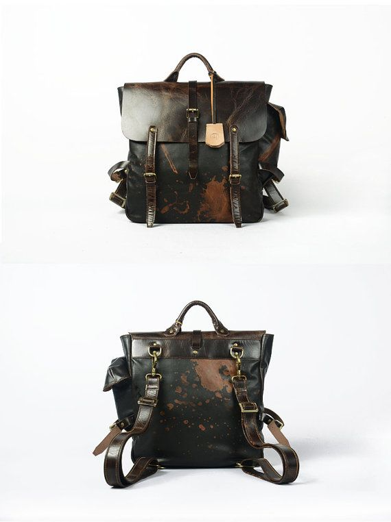 Leather Satchel Backpack Bag / Brown Black / Only ONE for Promotion Price Just Today Leather by KiliDesign, $250.00 // Fashion // Style