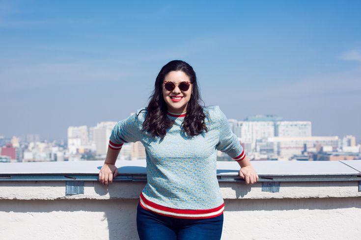Suéter HM y jeans de City Chic