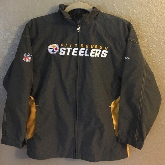 Boys Pittsburgh Steelers jacket Boys Reebok Pittsburgh Steelers jacket youth med 10/12. Wore a couple times. Great condition. Reebok Jackets & Coats