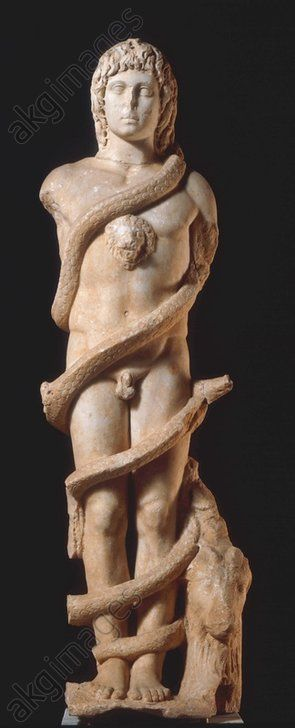 SATURN (AION) / ROMAN SCULPTURE. Roman, 2nd century.  Saturn (Aion).  (Aion equals Saturn in the cult of Mithras). Sculpture, Height 167cm.