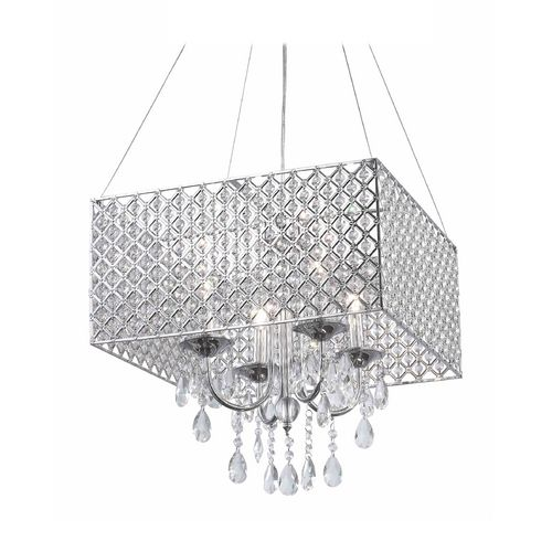 classics lighting square drum shade crystal chandelier pendant light