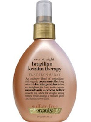 Spray on a section of hair, then immediately smooth with a flat iron. Protects against heat damage and perfect for silky smooth styles. $7.99, Ulta
