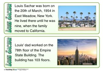 Louis Sachar Fact Cards - Learn about the life, work and achievements of popular author Louis Sachar with our free downloadable fact cards!