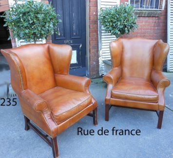 2 VINTAGE FRENCH / GEORGIAN WINGBACK STYLE LEATHER CLUB CHAIRS