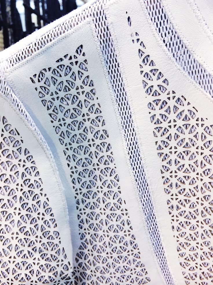 Laser cut leather fashion; White leather Highline Jacket; Patterns, texture, layering