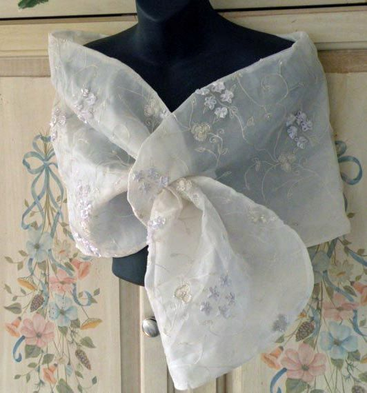 Embroidered Silk Organza Shrug Wrap Shawl by Paulownias on Etsy, $250.00