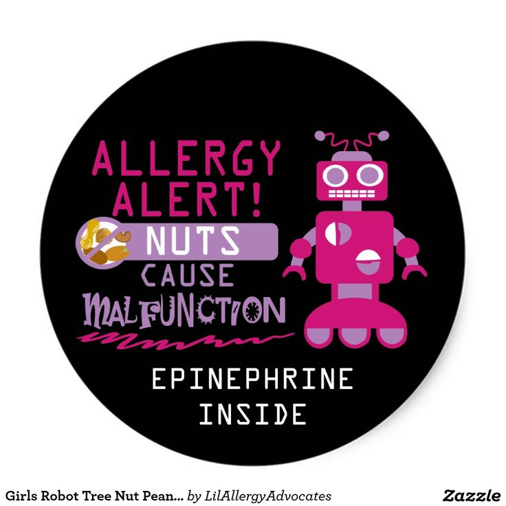 Girls robot tree nut peanut allergy alert classic round stickers personalize with name